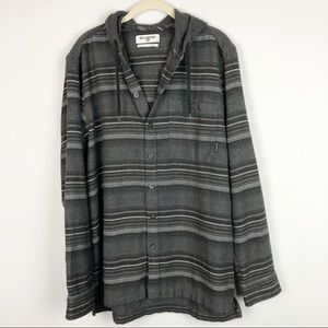 Billabong gray stripe hooded flannel shirt